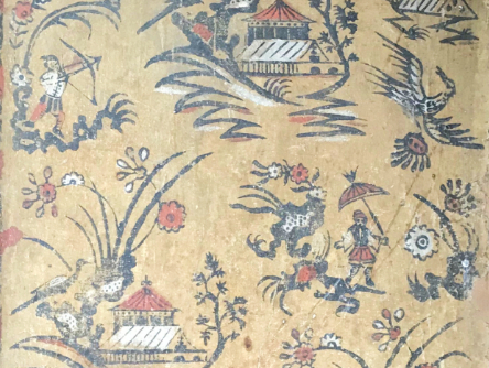 An extraordinary chinoiserie paper lining