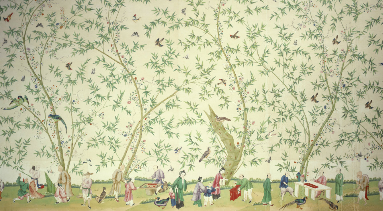 The wallpaper in the Chinese bedroom at Belton House, hung in about 1840