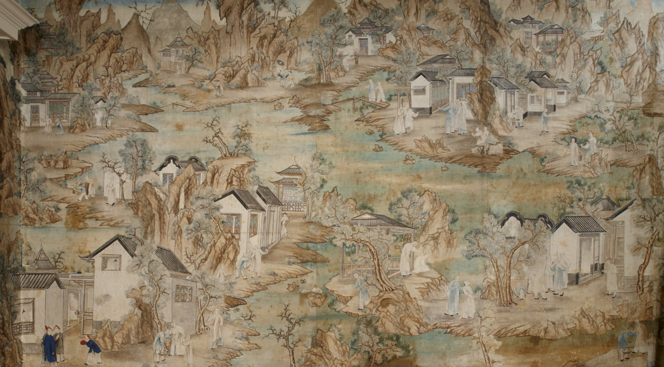 The painted landscape wallpaper at Blickling Hall, probably hung in about 1760