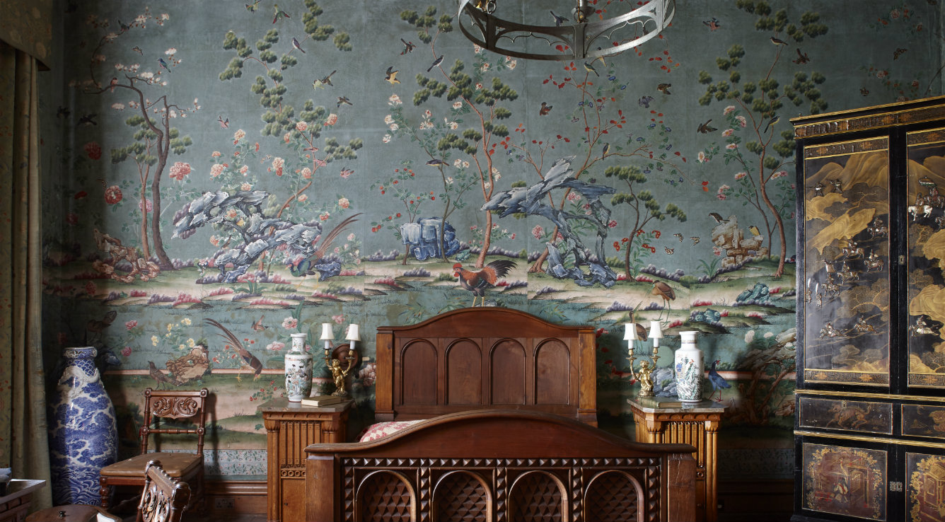 The wallpaper in the Lower India Room at Penrhyn castle, hung in the early 1830s and contrasting with the neo-Norman features and furnishings